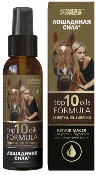Лошадиная Сила Купаж масел для роста и глубокого восстановления волос Top 10 Oils, 100мл