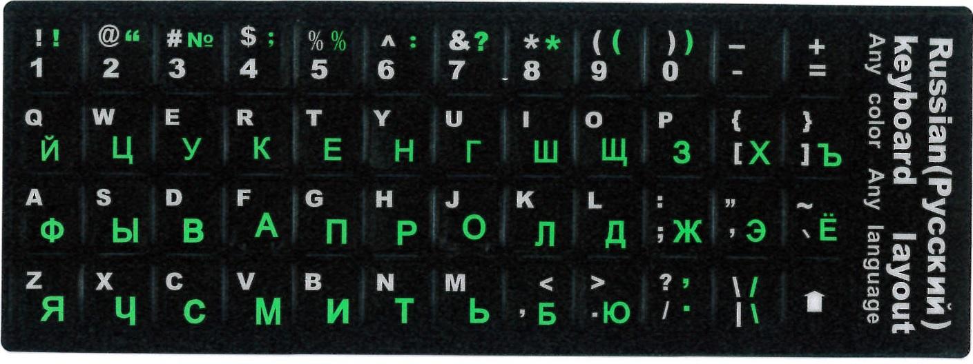 Наклейки на клавиатуру с русским и английским алфавитом